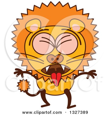 Clipart of a Cartoon Male Lion Vomiting - Royalty Free Vector Illustration by Zooco