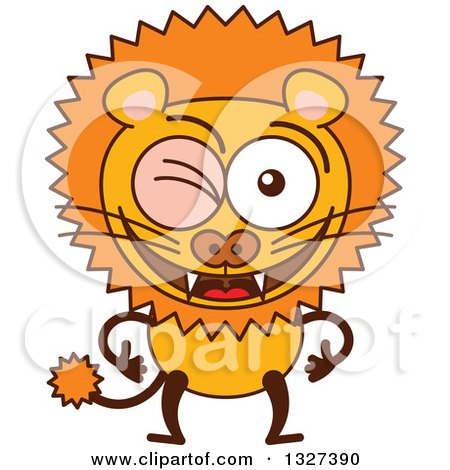 Clipart of a Cartoon Male Lion Winking - Royalty Free Vector Illustration by Zooco