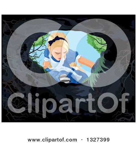 Clipart of Alice in Wonderland Looking down a Rabbit Hole - Royalty Free Vector Illustration by Pushkin