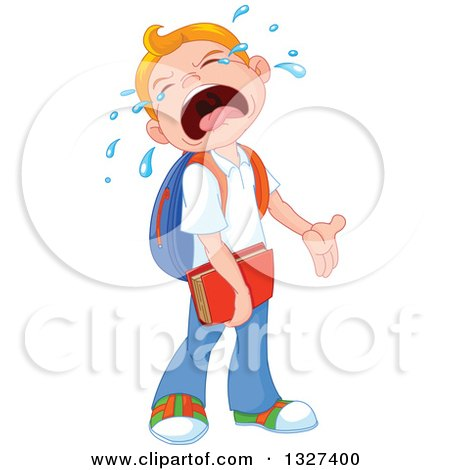Clipart of a Cartoon Caucasian School Boy Crying when He Has to Go Back to School - Royalty Free Vector Illustration by Pushkin