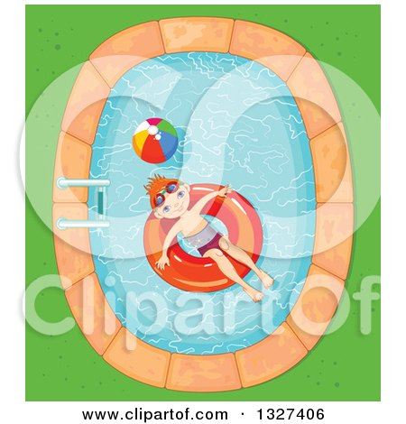 Clipart of a Happy Red Haired White Boy Floating in an Inner Tube in a Swimming Pool - Royalty Free Vector Illustration by Pushkin