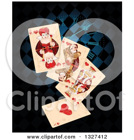 Clipart of Distressed Wonderland Playing Cards over a Clock and Blue and Black Diamonds - Royalty Free Vector Illustration by Pushkin