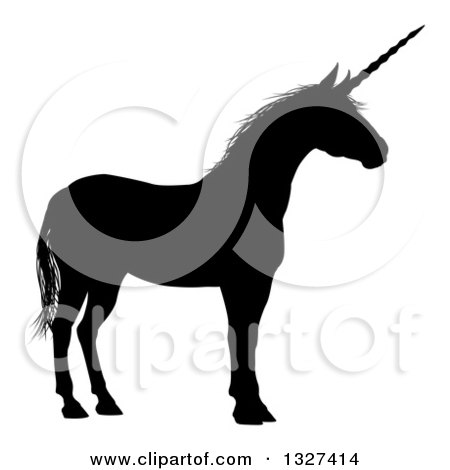 Clipart of a Black Silhouetted Unicorn in Profile, Facing Right - Royalty Free Vector Illustration by AtStockIllustration