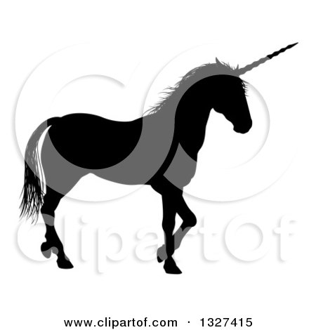Clipart of a Black Silhouetted Unicorn in Profile, Walking to the Right - Royalty Free Vector Illustration by AtStockIllustration