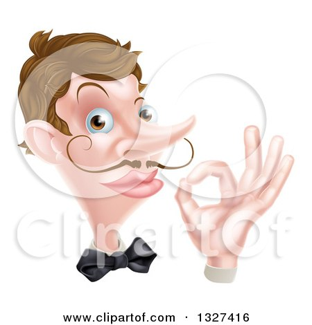 Clipart of a Cartoon Caucasian Male Waiter with a Curling Mustache, Gesturing Ok, Face and Hand Only - Royalty Free Vector Illustration by AtStockIllustration