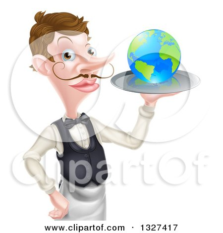 Clipart of a Cartoon Caucasian Male Waiter with a Curling Mustache, Holding Earth on a Tray - Royalty Free Vector Illustration by AtStockIllustration