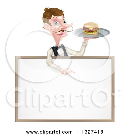 Clipart of a Cartoon Caucasian Male Waiter with a Curling Mustache, Holding a Burger on a Tray and Pointing down over a White Sign - Royalty Free Vector Illustration by AtStockIllustration