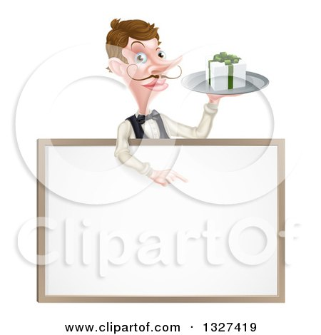 Clipart of a Cartoon Caucasian Male Waiter with a Curling Mustache, Holding a Gift on a Tray and Pointing down over a White Sign - Royalty Free Vector Illustration by AtStockIllustration