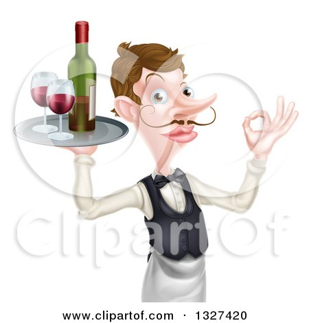 Clipart of a Cartoon Caucasian Male Waiter with a Curling Mustache, Gesturing Ok, and Holding Red Wine on a Tray - Royalty Free Vector Illustration by AtStockIllustration