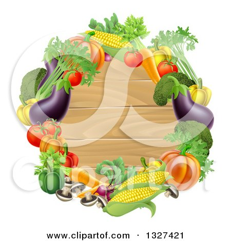 Clipart of a Black Round Wooden Sign Framed in Produce Vegetables - Royalty Free Vector Illustration by AtStockIllustration