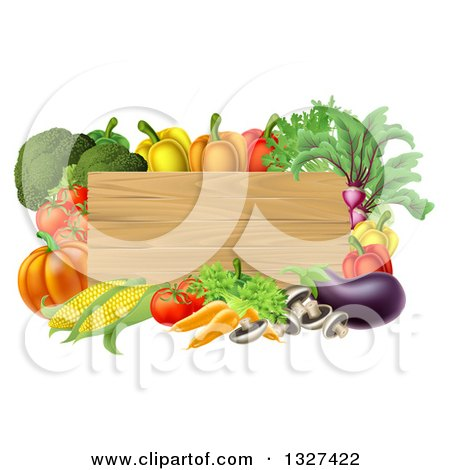 Clipart of a Rectangular Wooden Sign Framed in Produce Vegetables - Royalty Free Vector Illustration by AtStockIllustration