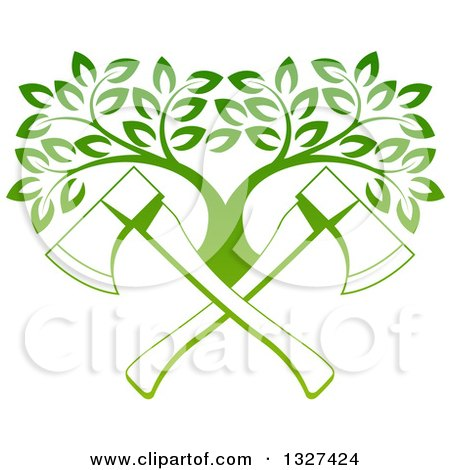 Clipart of Gradient Green Crossed Axes and a Tree - Royalty Free Vector Illustration by AtStockIllustration