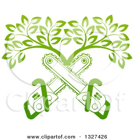 Clipart of Gradient Green Crossed Chainsaws and a Tree - Royalty Free Vector Illustration by AtStockIllustration