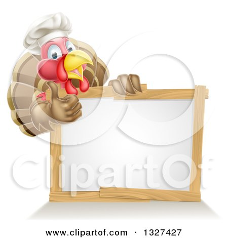 Clipart of a Pleased Turkey Bird Chef Giving a Thumb up Above a Blank White Sign - Royalty Free Vector Illustration by AtStockIllustration
