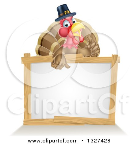 Clipart of a Happy Thanksgiving Pilgrim Turkey Bird Giving a Thumb up over a Blank White Board Sign - Royalty Free Vector Illustration by AtStockIllustration