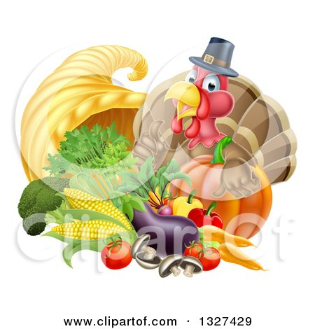 Clipart of a Cute Turkey Bird Pilgrim Giving a Thumb Up, with Harvest Produce and a Cornucopia - Royalty Free Vector Illustration by AtStockIllustration
