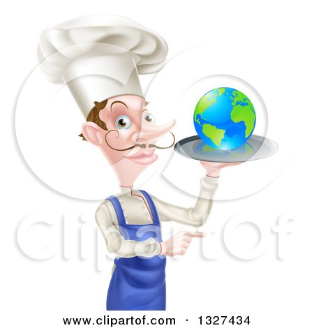 Clipart of a White Male Chef with a Curling Mustache, Holding Earth on a Platter and Pointing - Royalty Free Vector Illustration by AtStockIllustration