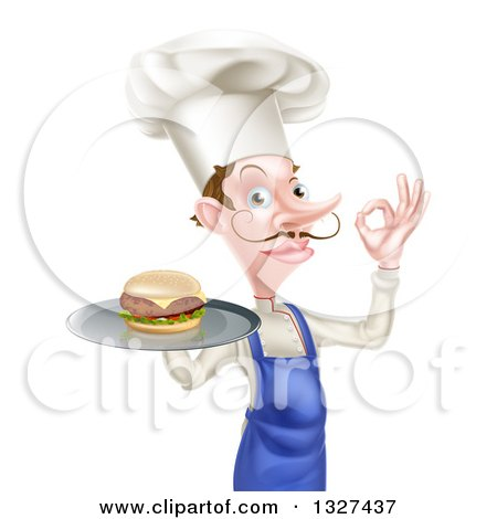 Clipart of a White Male Chef with a Curling Mustache, Holding a Cheeseburger on a Platter and Gesturing Okay - Royalty Free Vector Illustration by AtStockIllustration