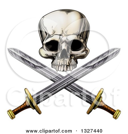 Clipart of an Engraved Pirate Skull and Cross Swords - Royalty Free Vector Illustration by AtStockIllustration