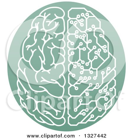 Clipart of a Half Human, Half Artificial Intelligence Circuit Board Brain in a Green Oval - Royalty Free Vector Illustration by AtStockIllustration