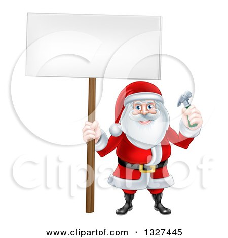 Clipart of a Happy Christmas Santa Claus Carpenter Holding a Hammer and Blank Sign 2 - Royalty Free Vector Illustration by AtStockIllustration