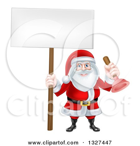 Clipart of a Happy Christmas Santa Claus Plumber Holding a Plunger and Blank Sign 2 - Royalty Free Vector Illustration by AtStockIllustration
