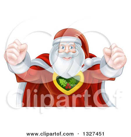 Clipart of a Super Hero Santa Claus Flexing His Bicep Muscles - Royalty Free Vector Illustration by AtStockIllustration