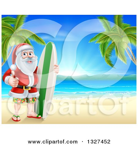 Clipart of a Christmas Santa Claus Giving a Thumb up and Standing with a Surf Board on a Tropical Beach - Royalty Free Vector Illustration by AtStockIllustration
