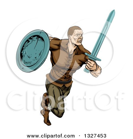 Clipart of a Muscular Viking Warrior Sprinting with a Sword and Shield - Royalty Free Vector Illustration by AtStockIllustration