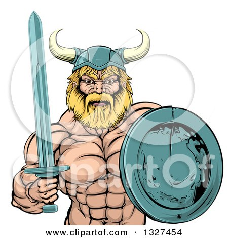 Clipart of a Cartoon Tough Muscular Blond Male Viking Warrior Holding a Sword and Shield - Royalty Free Vector Illustration by AtStockIllustration