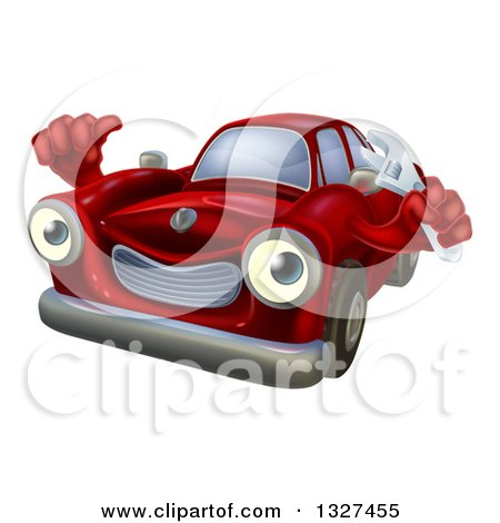 Clipart of a Happy Cartoon Red Car Character Mechanic Holding a Wrench and Thumb up 2 - Royalty Free Vector Illustration by AtStockIllustration