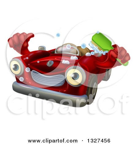 Clipart of a Red Convertible Car Character Holding a Thumb up and a Green Scrub Brush - Royalty Free Vector Illustration by AtStockIllustration
