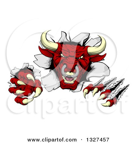 Clipart of a Mad Aggressive Clawed Red Bull Monster Slashing Through a Wall 2 - Royalty Free Vector Illustration by AtStockIllustration