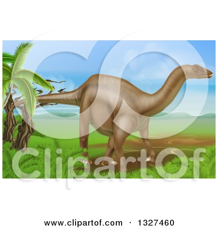 Clipart of a 3d Diplodocus Dinosaur in a Landscape - Royalty Free Vector Illustration by AtStockIllustration
