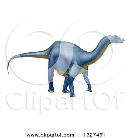 Clipart of a 3d Blue Diplodocus Dinosaur - Royalty Free Vector Illustration by AtStockIllustration
