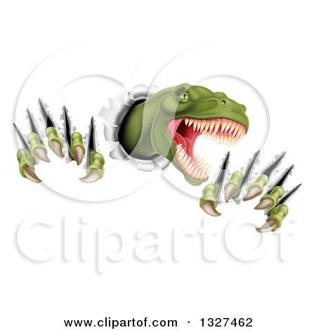 Clipart of a 3d Roaring Green Tyrannosaurus Rex Dinosaur Slashing Through Metal - Royalty Free Vector Illustration by AtStockIllustration
