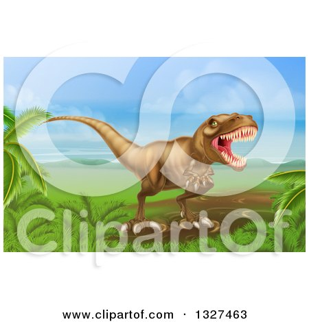 Clipart of a 3d Roaring Vicious Tyrannosaurus Rex Dinosaur in a Landscape - Royalty Free Vector Illustration by AtStockIllustration
