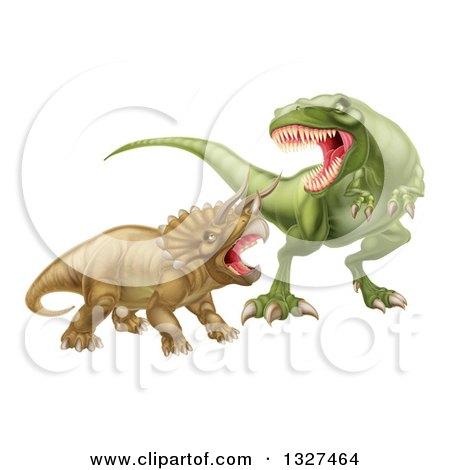 Clipart of a 3d Tyrannosaurus Rex Dinosaur Attacking a Triceratops - Royalty Free Vector Illustration by AtStockIllustration