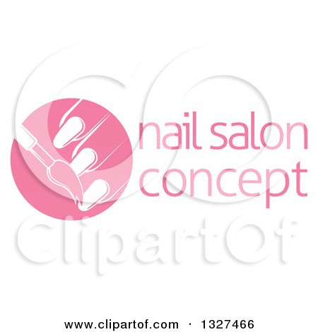 Clipart of a White Brush Painting Finger Nails in a Pink Circle, Next to Sample Text - Royalty Free Vector Illustration by AtStockIllustration