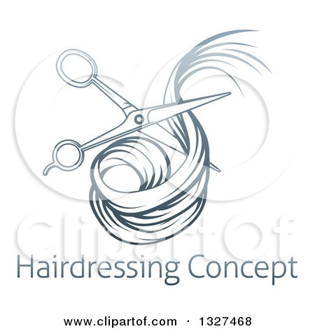 Clipart of Blue Gradient Scissors Cutting Hair over Sample Text - Royalty Free Vector Illustration by AtStockIllustration