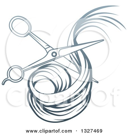Clipart of Blue Gradient Scissors Cutting Hair - Royalty Free Vector Illustration by AtStockIllustration