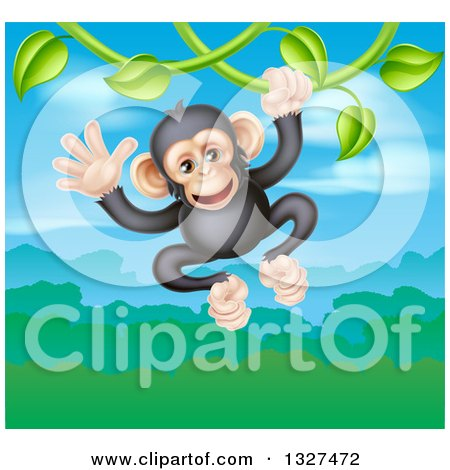 Clipart of a Happy Chimpanzee Monkey Swinging from a Vine over a Valley - Royalty Free Vector Illustration by AtStockIllustration