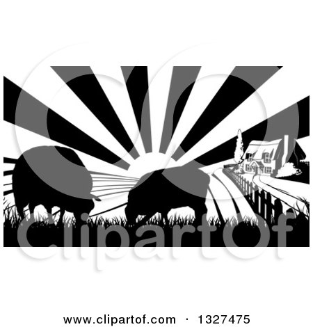 Clipart of a Black and White Sunrise over a Cottage Farm House with Two Silhouetted Sheep and Fields - Royalty Free Vector Illustration by AtStockIllustration