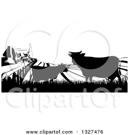 Clipart of a Black and White Sunrise over a Farm House with Silhouetted Cows and Fields - Royalty Free Vector Illustration by AtStockIllustration