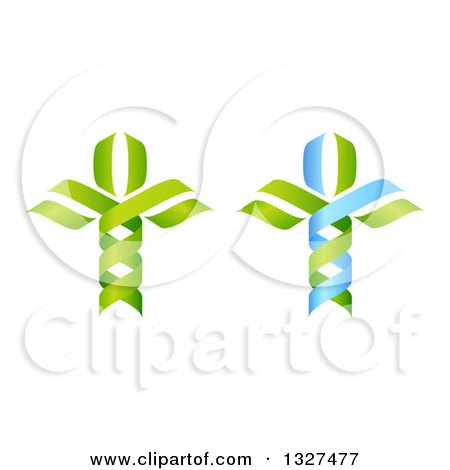 Clipart of a 3d Green and Blue DNA Double Helix Trees - Royalty Free Vector Illustration by AtStockIllustration