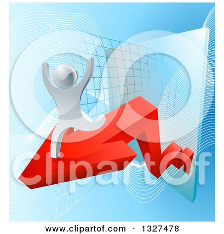 Clipart of a 3d Victorious Silver Businessman Running on a Red Arrow off of a Chart on Blue - Royalty Free Vector Illustration by AtStockIllustration