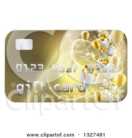 Clipart of a 3d Gold Gift Card with Presents and Balloons - Royalty Free Vector Illustration by AtStockIllustration