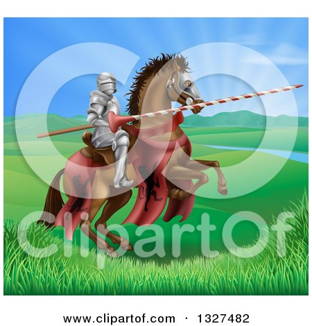 Clipart of a 3d Knight Holding a Jousting Lance on a Rearing Brown Horse in a Valley - Royalty Free Vector Illustration by AtStockIllustration