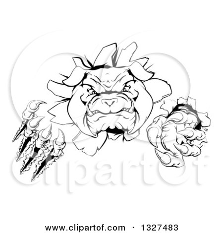 Clipart of a Black and White Tough Bulldog Monster Clawing Through a Wall 2 - Royalty Free Vector Illustration by AtStockIllustration
