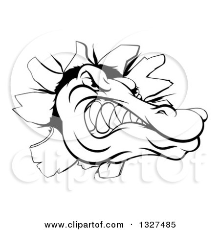 Clipart of a Black and White Alligator or Crocodile Head Breaking Through a Wall - Royalty Free Vector Illustration by AtStockIllustration